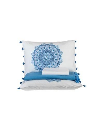 Bella Maison %100 Pamuk Mandala Çift Kişilik Pike Seti (200x220 cm) Mavi